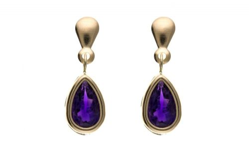9 Carat Yellow Gold Amethyst Pear Drop Earring
